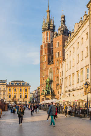 Krakow Poland. April 2019. A view of the Main Square in the medieval old Town in Krakow