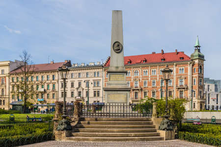 Krakow Poland. April 2019. A view of the Florian Straszewski in planty park in the medieval old Town in Krakow