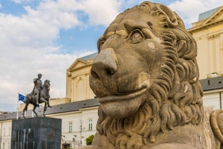Warsaw Poland. April 25 2019. A view of the Presidential Palace and the statue of Jozef Poniatowski in Warsaw in Poland Editorial