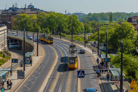 Warsaw Poland. April 2019. A view of local trams in Warsaw in Poland Publikacyjne