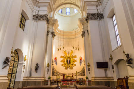 Warsaw Poland. April 2019. A view of the interior of Church of the Gracious Mother of God in Warsaw in Poland Redakční