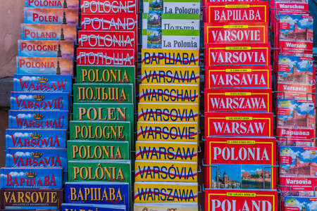 Warsaw Poland. April 2019. A view of souvenirs for sale in Warsaw in Poland Redactioneel