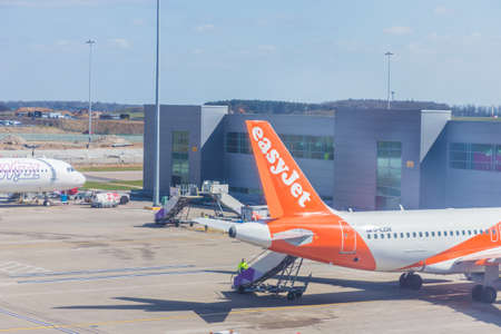 London Luton, England. April 2019. A view of an easyjet plane at Luton Airport in the UK