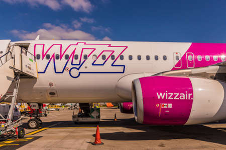 London Luton, England. April 2019. A view of a Wizz air plane at Luton Airport in the UK Sajtókép