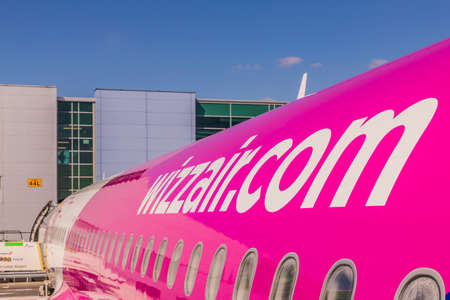 London Luton, England. April 2019. A view of a Wizz air plane at Luton Airport in the UK Editorial
