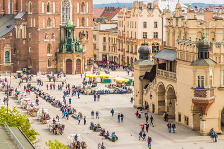 Krakow Poland. April 2019. An elevated view over the medieval old town in Krakow Poland