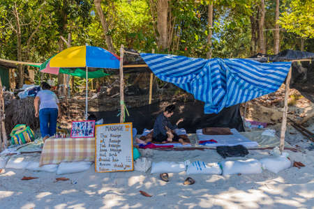 Ko Lipe Thailand. A view of a beach massage shack on Ko Lipe in Thailand 에디토리얼