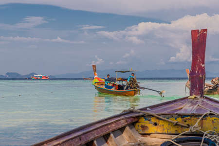 Ko Lipe Thailand. A view of long tail boats on Ko Lipe in Thailand