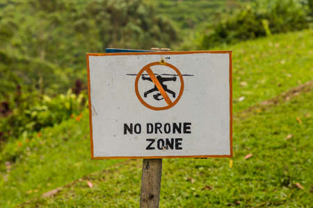Cameron Highlands Malaysia. 10 March 2019. A no Drone sign in the cameron highlands in Malaysia