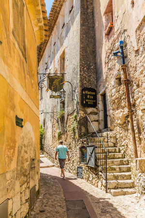Eze Cote d azure France. 18 June 2019. A view of the narrow streets in the medieval village of Eze in France