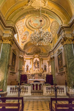 Eze Cote d azure France. 18 June 2019. The interior of the Notre Dame de Assomption in the medieval village of Eze in France