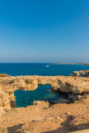 Cape Greco Cyprus. 13 August 2019. A view of karakas Arch at Cape Greco in Cyprus
