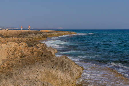 Cape Greco Cyprus. 13 August 2019. A landscape view at Cape Greco in Cyprus 스톡 콘텐츠 - 131958364