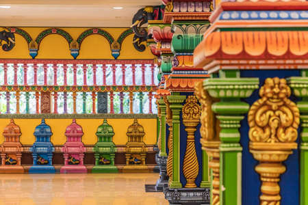 Batu Caves Kuala Lumpur Selangor, Malaysia. March 18 2019. A view of colourful detail at the temple at the Batu caves in Malaysia Imagens