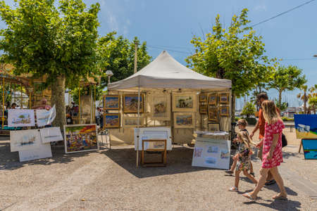 Cannes France. June 15 2019. A view of the outdoor market in Cannes in France