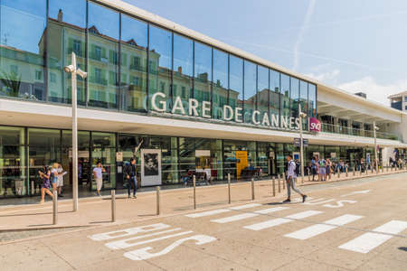 Cannes France. June 15 2019. A view of Cannes train station in Cannes in France 에디토리얼