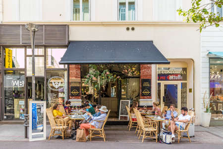 Cannes France. June 15 2019. A cafe scene in Cannes in France 에디토리얼