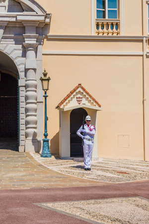 Monaco. June 16 2019. A view of guards at The Princes palace in Monaco