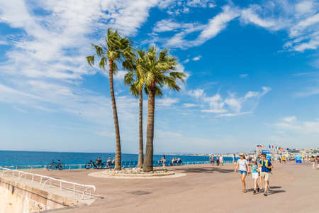 Nice cote d Azur. France. june 20 2019. A view of the beach Promenade des Anglaise in Nice in Cote d Azur in France Éditoriale
