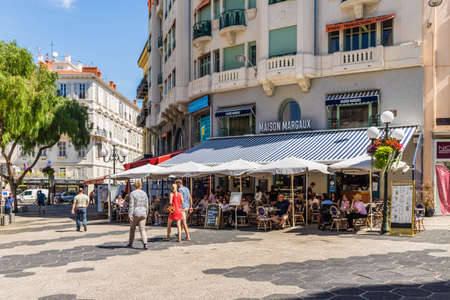 Nice cote d Azur. France. june 20 2019. A view of a cafe in Nice in Cote d Azur in France Editorial