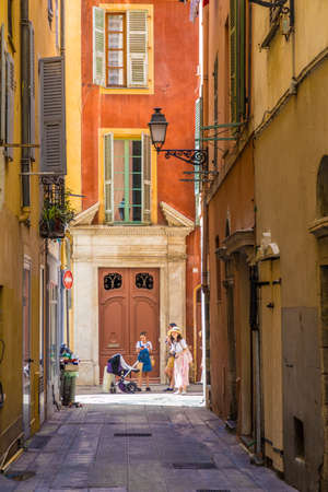 Nice france. June 12 2019. A street scene in the old town in Nice France Éditoriale