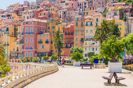 Menton France. 17 June 2019. A view of the colourful buildings in Menton in France 에디토리얼