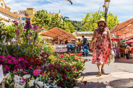 Nice France. June 12 2019. Flower stalls at Cours Saleya market in Nice France 에디토리얼