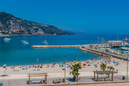 Menton France. 17 June 2019. An elevated view over Menton in France 에디토리얼