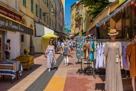 Menton France. 17 June 2019. A street scene of in Menton in France