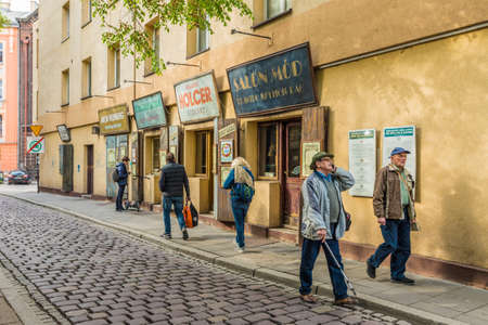 Krakow Poland. May 8 2019. A view of the famous buildings of szeroka street in Kazimierz the former jewish district Krakow in Poland