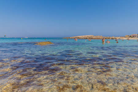 Cape Greco Cyprus. 13 August 2019. A view of Nissi Beach in Agia Napa in Cyprus