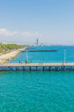 Limassol Cyprus. September 1 2019. An elevated view of the pier in Limassol in Cyprus Фото со стока