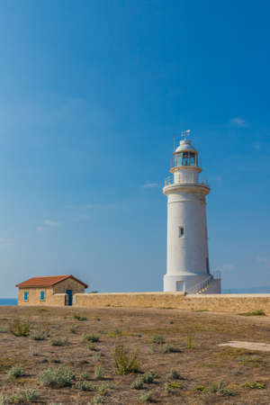 Paphos Cyprus. September 4 2019. A view of the lighthouse in Paphos in Cyprus