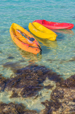 Agia Napa Cyprus. August 14 2019. A view of kayaks for rent at Nissi beach in Agia Napa in Cyprus