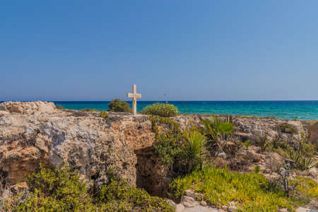 Agia Napa Cyprus. August 14 2019. A view of the cave entrance to Agia Thekla cave chapel in Protaras in Cyprus