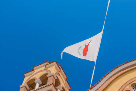 Paralimni Cyprus. August 16 2019. A view of a cypriot flag agios dimitrrios Church in Paralimni Cyprus