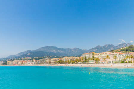 Menton France. 17 June 2019. A view of the beach in Menton in France