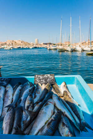 Marseille France. 22 june 2019. A View of fresh seafood for sale at the old port fish market in Marseille in France