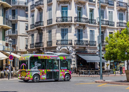 Cannes France. June 15 2019. A view of an electric bus in Cannes in France