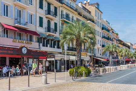 Cannes France. June 15 2019. A view of the harbour in Cannes in France
