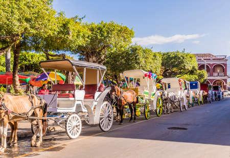 Granada Nicaragua. February 2018. Local horse taxis in Granada in Nicaragua