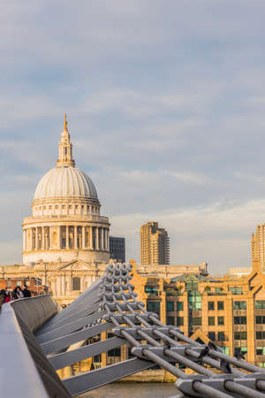 July 2020. London. St Pauls Cathedral and Millennium Bridge in London,