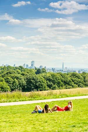 June 2020. London. People relaxing on Hampstead heath, London,England Uk Europe