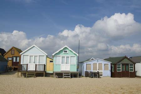 flagpoles:  Beach Huts at Hengistbury Head in Dorset