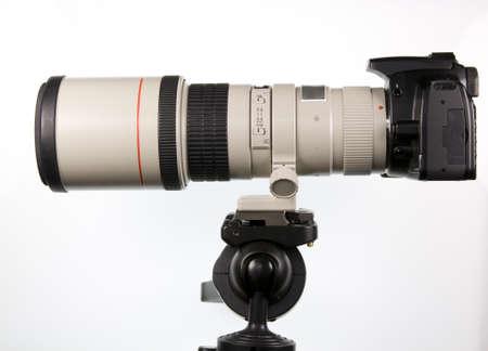 tripod mounted: SLR camera with long telephoto lens mounted on a tripod