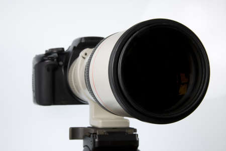tripod mounted: Long telephoto lens attached to SLR body mounted on tripod. Differential focus on foreground
