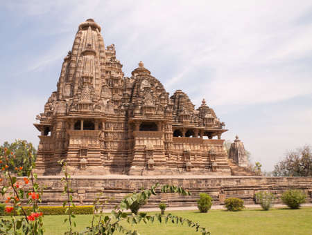 khajuraho: Khajuraho Hindu Temples in India,  built in 10th-12th century by the Chandella dynasty famous for their intricate and delicately sensual carving