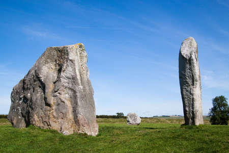 neolithic: Three of the many huge monoliths in the neolithic stone circle at Avebury, Wiltshire, uk