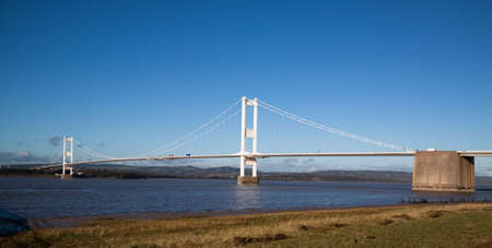 Old Severn Bridge connecting Wales and England across the Severn Estuary carrying the M48 motorway