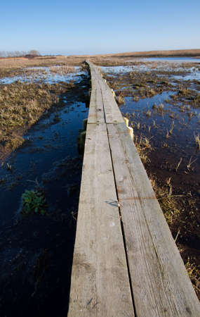 elevated walkway: Elevated walkway over a marsh stretching into the distance, Stanpit,Christchurch,Dorset,UK